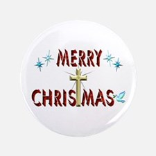 """Merry Christmas with Cross 3.5"""" Button (100 pack)"""