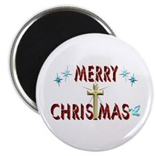 Merry Christmas with Cross Magnet