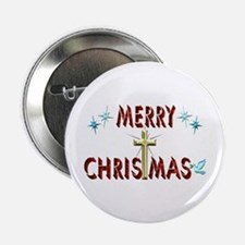 "Merry Christmas with Cross 2.25"" Button (10 pack)"
