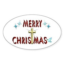 Merry Christmas with Cross Decal