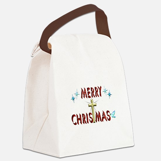 Merry Christmas with Cross Canvas Lunch Bag
