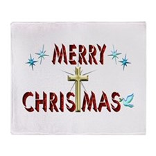 Merry Christmas with Cross Throw Blanket