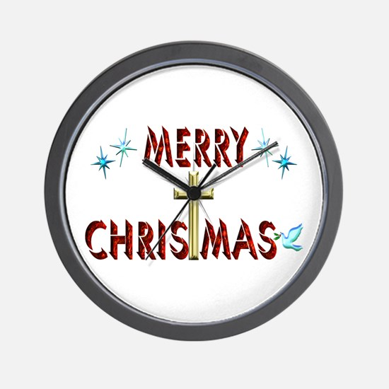 Merry Christmas with Cross Wall Clock