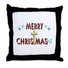 Merry Christmas with Cross Throw Pillow
