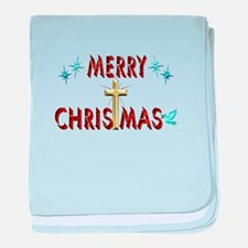 Merry Christmas with Cross baby blanket