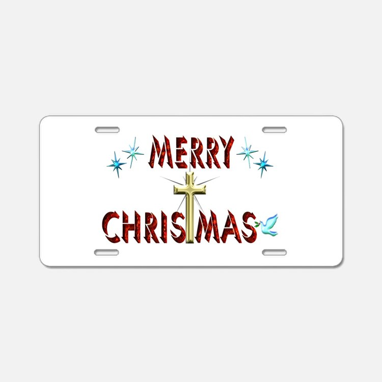 Merry Christmas with Cross Aluminum License Plate