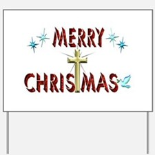 Merry Christmas with Cross Yard Sign