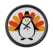 Penguin Pilgrim Turkey Mash-up Large Wall Clock