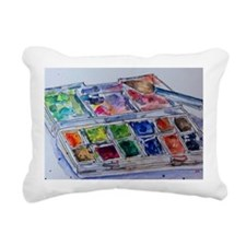 Watercolor Palette Rectangular Canvas Pillow