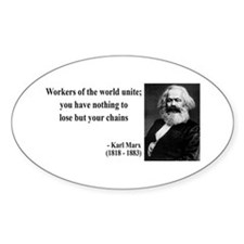 Karl Marx Quote 8 Oval Decal