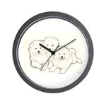 Samoyed Puppies Wall Clock