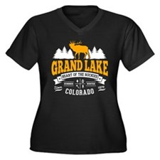 Grand Lake V Women's Plus Size V-Neck Dark T-Shirt
