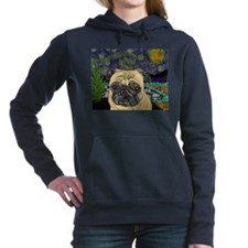 Starry night pug Women's Hooded Sweatshirt