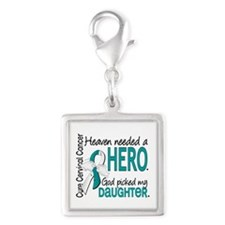 Cervical Cancer HeavenNeededH Silver Square Charm