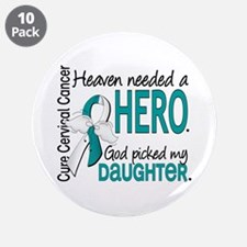 """Cervical Cancer HeavenNeeded 3.5"""" Button (10 pack)"""