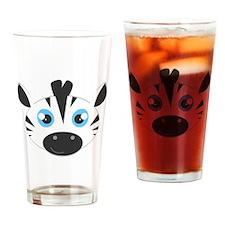 Cute Zebra Head Cartoon Drinking Glass