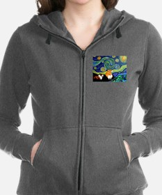 Corgi Starry Starry Night Women's Zip Hoodie