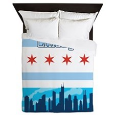 Chicago Flag City Skyline Queen Duvet