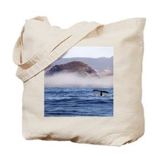 Humpback Whale Morro Bay Rock Tote Bag