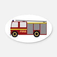 Fire Truck Oval Car Magnet