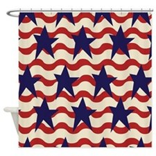 Americana Patriotic Ribbon Shower Curtain