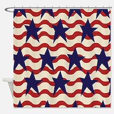 Americana Patriotic Ribbon Shower Curtain