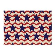 Americana Patriotic Ribbon 5'x7'Area Rug