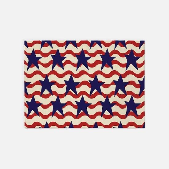 Americana Patriotic Ribbon 5'x7'Area Rug