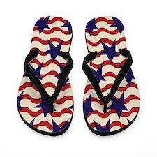 Americana Patriotic Ribbon Flip Flops