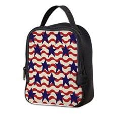 Americana Patriotic Ribbon Neoprene Lunch Bag
