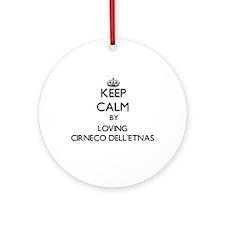 Keep calm by loving Cirneco Dell' Ornament (Round)