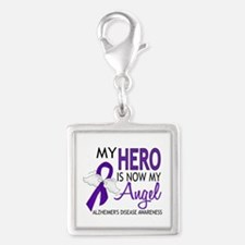 Alzheimers Hero Now My Angel Silver Square Charm