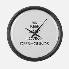 Keep calm by loving Deerhounds Large Wall Clock