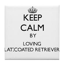Keep calm by loving Flat-Coated Retri Tile Coaster