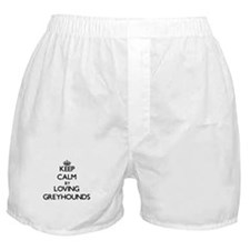 Keep calm by loving Greyhounds Boxer Shorts