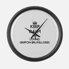 Keep calm by loving Griffon Bruxe Large Wall Clock