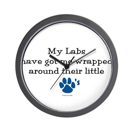 Wrapped Around Their Paws (Lab) Wall Clock