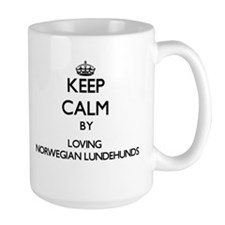 Keep calm by loving Norwegian Lundehunds Mugs