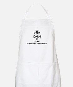 Keep calm by loving Norwegian Lundehunds Apron