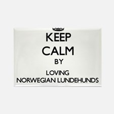 Keep calm by loving Norwegian Lundehunds Magnets