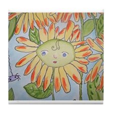 Whimsical yellow daisy and spider Tile Coaster