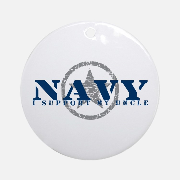 Navy - I Support My Uncle Ornament (Round)