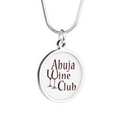 Wine and Checks Silver Round Necklace