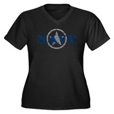Navy - I Support My Son Women's Plus Size V-Neck D