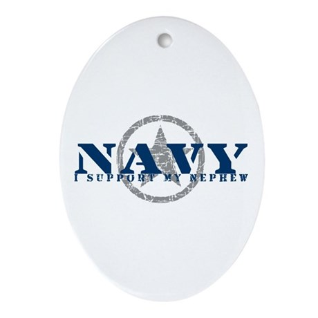 Navy - I Support My Nephew Oval Ornament