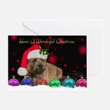 Border Terrier Dog In Holiday Hat Greeting Cards