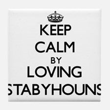 Keep calm by loving Stabyhouns Tile Coaster