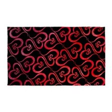 All Hearts Total Black Red-Hot Area Rug