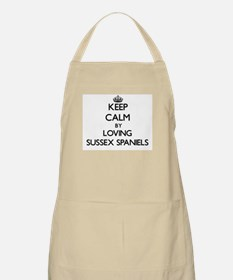 Keep calm by loving Sussex Spaniels Apron