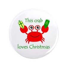 "Christmas Crab 3.5"" Button"